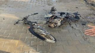 Motosiklet Cayır Cayır Yandı